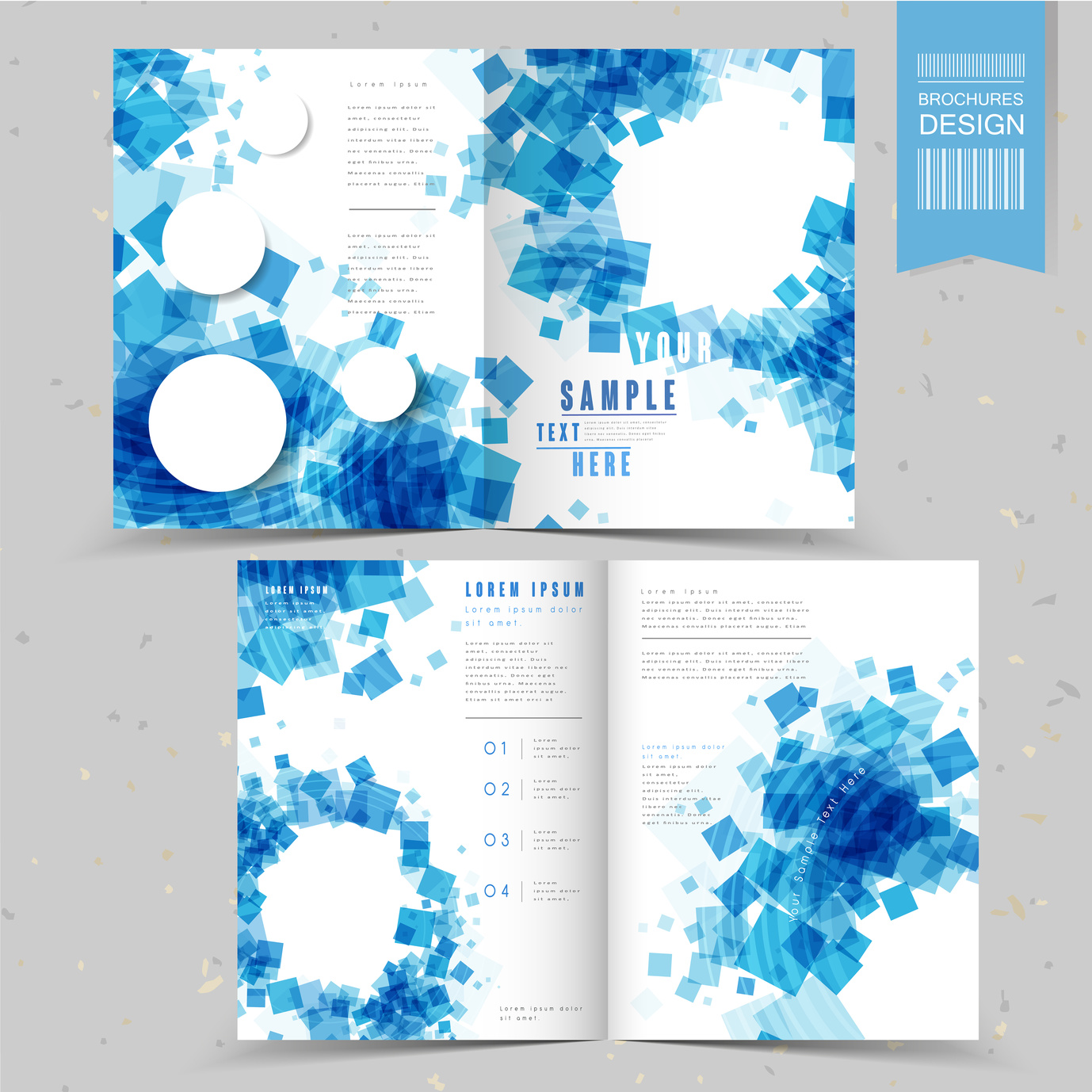 abstract half-fold template design with blue translucent square