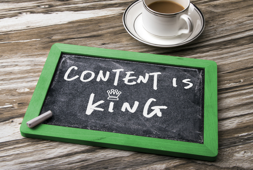 content is king handwritten on blackboard