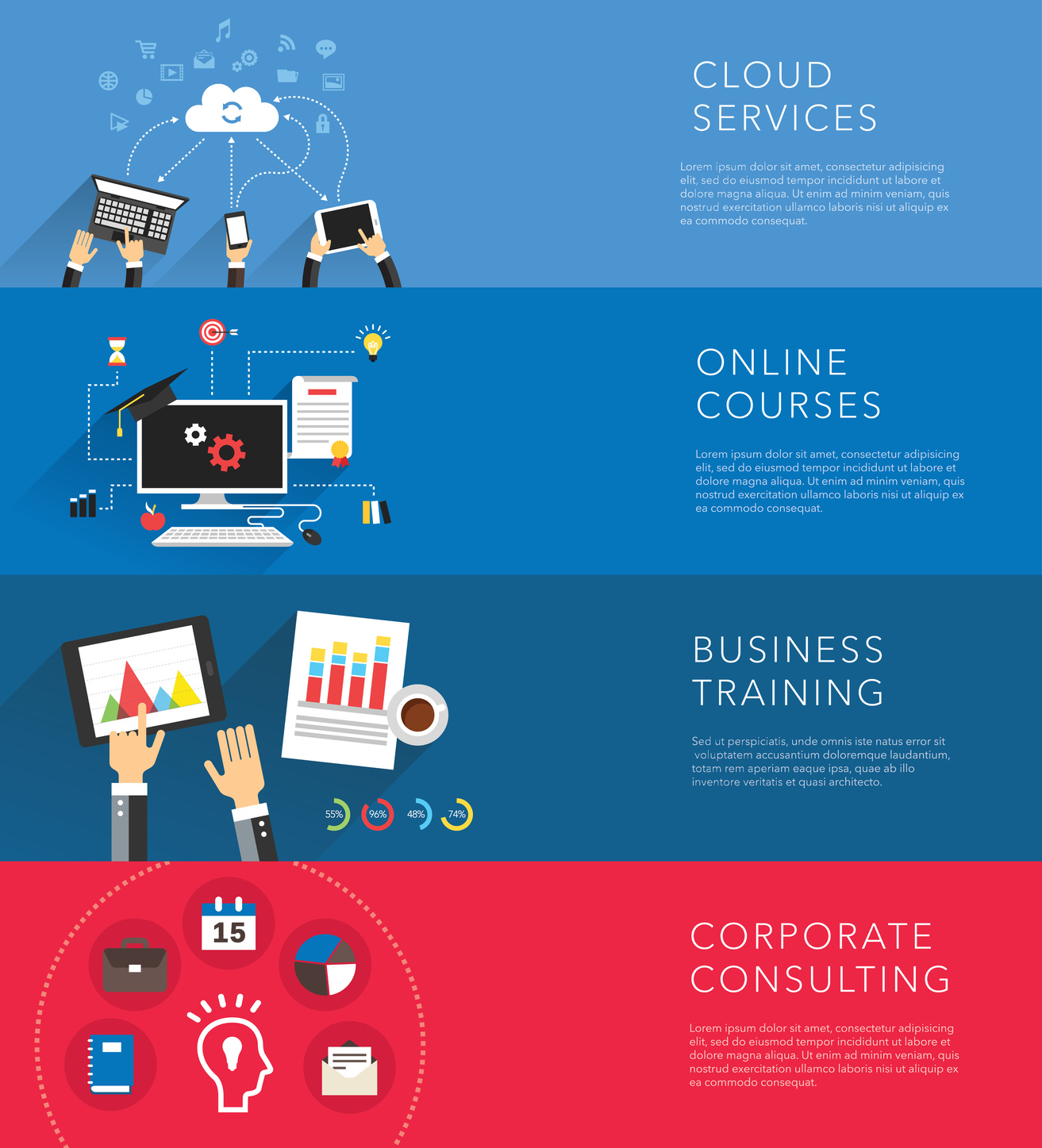 flat business training templates vector creative background