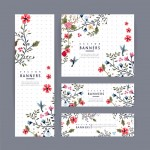 graceful banner template design with lovely floral pattern over purple spotted white background