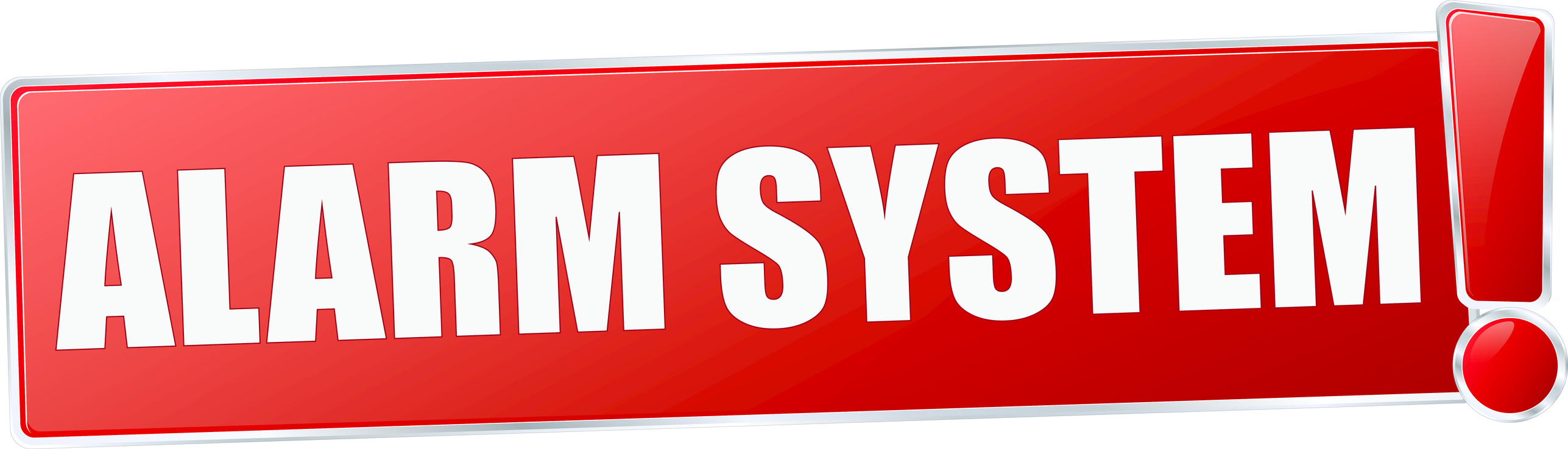 modern red alarm system vector sign in red with metallic border and a exclamation mark
