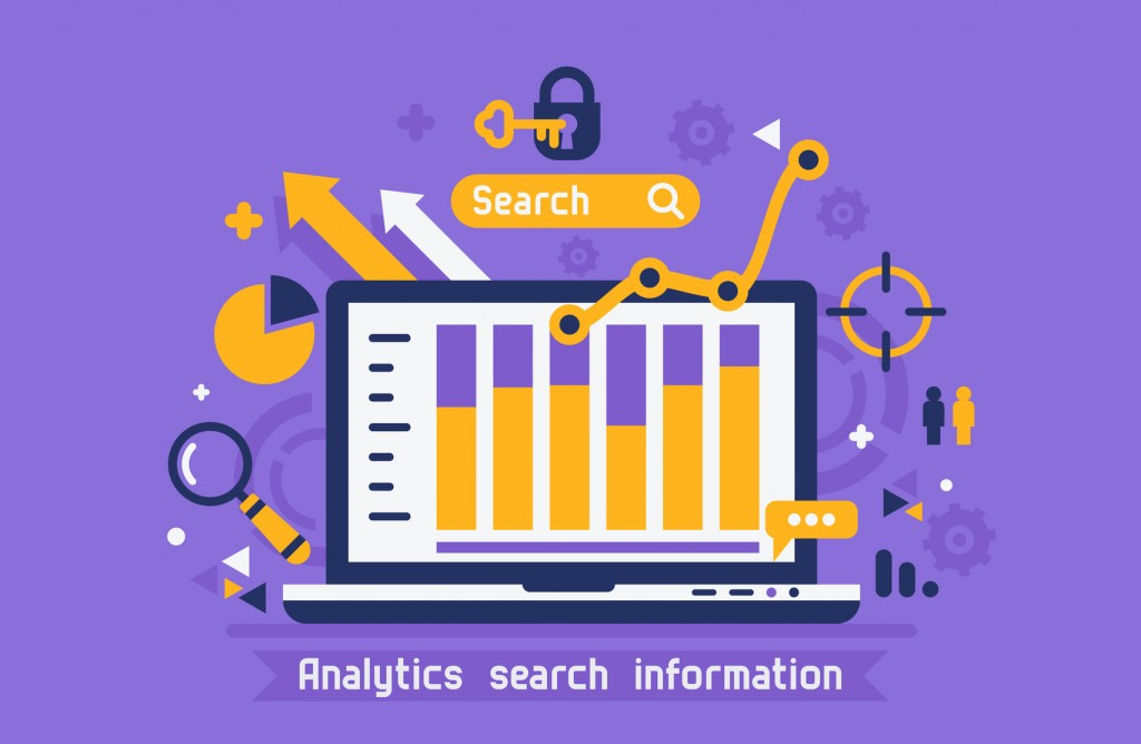 Flat design modern vector illustration concept of website online analytics search information.