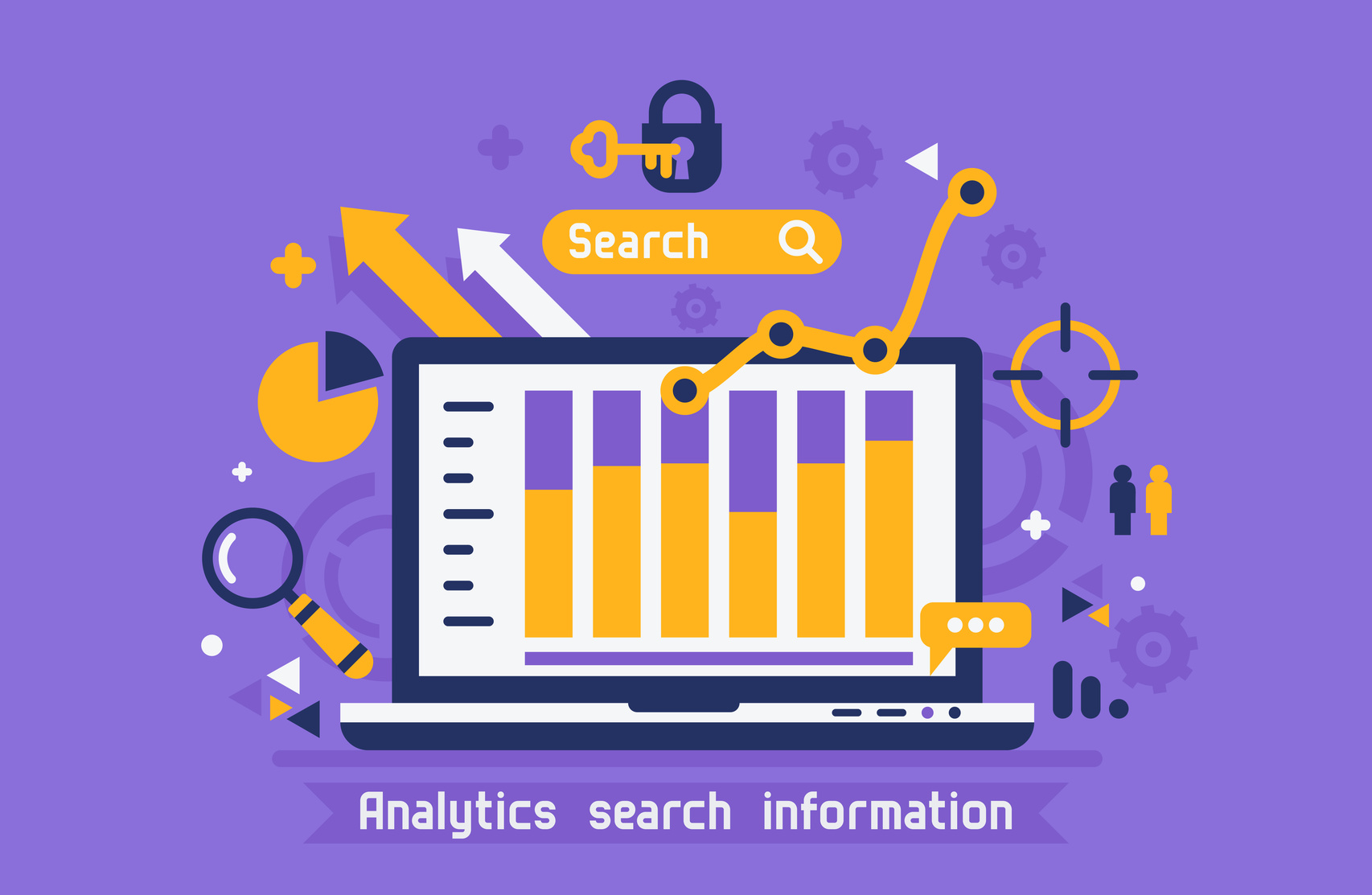 Flat design modern vector illustration concept of website online analytics search information.