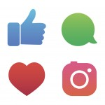 Flat designed vector icons of hipster photo camera, like hand symbol, thumbs up, heart and telephone vector illustration