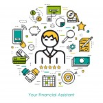 Vector round concept of Financial Assistant or accounting service in thin line style. Banknote and coins, businessman, device and computer icons