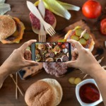 taking photograph of food with the smartphone from above